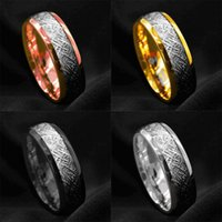 Wedding Rings Fashion 8MM Men's Blue Groove Beveled Edge Tungsten Carbide Ring Black Celtic Dragon Carbon Fibre Men Band