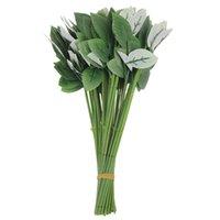 Decorative Flowers & Wreaths 50pcs Artificial Fake Rose Flower Stems For Diy Handmade Bouquet Leaf Vein Wedding Home Decoration