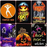Party Poster Happy Halloween Vintage Signs Bar Pub Cafe Home Decor Trick Or Treat Metal Painting Tin Plaque N369