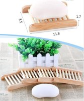 Home Wooden Natural Bamboo Soap Dishes Tray Holder Storage Rack Plate Box Container Bathroom Soap Saver Rectangular Sink Drainer Hand Craft