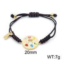 Charm Bracelets Golden Moon Heart Bear Braided Woven Titanium Steel Colorful Enamel Drawstring Lucky Rope Adjustable Jewelry Women