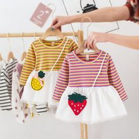 Girl's Dresses Summer Dress Princess Party Stripe Yellow Pink Cute Toddler Baby Girls Kid Clothes Infant Mesh With Bag