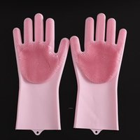 Magic Dishwashing Gloves for Washing Dishes Silicone Cleaning Gloves With Brushes Kitchen Household Rubber Sponge Gloves Car Wash BWA7092