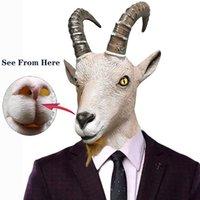 2 stücke Ziege Antilope Tierkopf Maske Neuheit Halloween Kostüm Party Latex Tiermaske Voller Kopf für Erwachsene