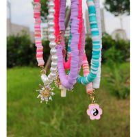 Pendant Necklaces Korean Polymer Clay Beaded Necklace Rhinestone Sunflower Tai Chi Pearl Bead Strand Asymmetry Handmade Jewelry