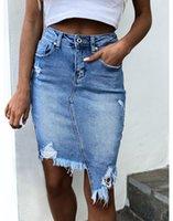 Gonna in denim donna irregolare Bodycon Tassel Pocket Mini Jean Gonne Dress