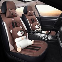 Cute Car Seat Cover Set Auto Bear Embroidery Ice Silk Breathable Automobile Seat Cover For Toyota Kia Ford Golf Car Accessories