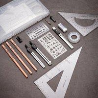 Juego de dibujos de anillo de maquinaria de construcción Sets 16pcs Ruler Lápiz Lápiz Conjunto para Mapeo Profesional