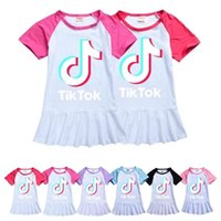 100-160 Summer Baby Girls Robe Raglan T-shirt Jupe Sports Casual Tiktok Tik Tok lettres Imprimer Robe à volants Cute Vêtements enfants G36KRB1