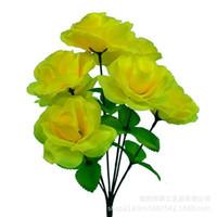 Luxus dekorative Blumen Kränze PO Screen-Simulation Seide sieben Kopf Kleiner Rosenkünstliches Blumenbündel Langzeit