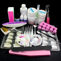 Nail Art Kits Pro 23in1 UV Gel Top Coat 7 Brush French Tips Glue Cutter File Tools SET US DROP Anmas Rucci