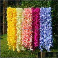 Fours de fête décorative Fournitures de fête à domicile Couronnes de fleurs Gardendantes 170cm Longfeftifial Wisteria Lilas Vigne Soie Cerisier Arc