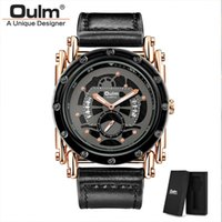 Orologio da polso Oulm 3399 Punk Style Men Sport Orologi da polso di lusso in pelle orologio da polso da polso univoco orologio maschio retrò
