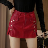 Women's Shorts 2021 Fashion PU Leather Skirts Women High Waist Wide Leg Red Black Streetwear Sexy Biker Bootie