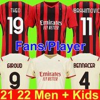 Fanlar oyuncu versiyonu AC Milan 21 22 Futbol Forması Ibrahimovic Giroud Paqueta Bennacer Tonalı Romagnoli Jersey 2021 2022 Calhanoğlu Rebic Futbol Gömlek Erkekler Kids Kiti