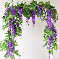 Wisteria Artificial Flower Vine Wreath Wedding Arch Decoration Fake Plant Leaf Rattan Trailing Ivy Wall Decorative Flowers & Wreaths