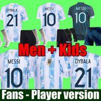 Homens Crianças Define Uniforme Com Meias Argentina Futebol Jersey Fãs e Jogador Versão 2021 Copa América Messi Dybala Aguero Camisa de Futebol 20 21
