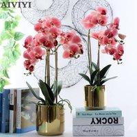 Decorative Flowers & Wreaths 2 Branch Orchid Gold Basin Set Home Decor Wedding Garden Decoration Emulsion Artificial Plantas Flower Pots Orc