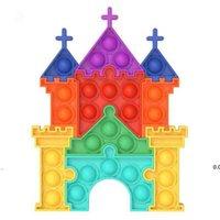 new silicone Kids Toy jigsaw puzzle fidget toys Castle push bubble desktop Children party supplies color castles set EWA6035