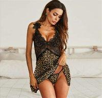 Fashion Leopard Printed Panelled Womens Sleepwear Sexy Lace Pajamas Sets Designer Womens Clothing Sling Underwear 2021