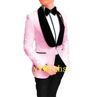 Handsome Embossing Groomsmen Shawl Lapel Groom Tuxedos Men Suits Wedding Prom Man Blazer ( Jacket+Pantst+Tie) Y330