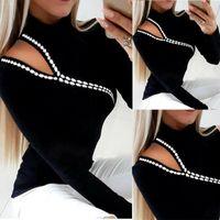 Women's T-Shirt 2021 T Shirts Black White Patchwork Tops Fashion Long Sleeve Hollow Out Clothing Elegant Slim Ladies