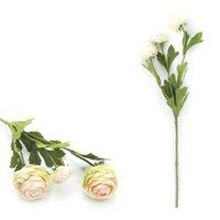 Ranunculus artificial Flores 42cm Larga Real Touch Bulbs Flor de seda para la decoración de la boda Guirnaldas decorativas