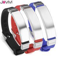 Link, Chain Jovivi 1pc Silicone Sport Alert ID Bracelet Stainless Steel Identification Wristband For Men Women Gift Black Red Blue