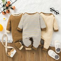 Baby Bebe Jumpsuits with Patch at Back Hip Fall 2021 Kids Boutique Clothing 0-18m Newborn Infant Toddlers Cotton Long Sleeves Bodysuits Crawl Clothes