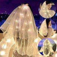 60 سنتيمتر مضيئة أدى الزفاف الحجاب الكتف طول اللؤلؤ الأبيض الزفاف الحجاب الاطفال الأميرة غطاء الرأس مع مصباح أضواء مانتيا غزل الخرز ديكور الشريط القوس G65ECM0