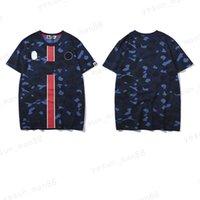 여름 새로운 브랜드 중간 붉은 수직 스트립 인쇄 큰 메이트 느슨한 상어 머리 남자 원숭이 짧은 mouwen 티셔츠 남자를위한