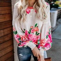 Boho Inspired VALENCIA ROSE PRINTED BLOUSE Relaxed Fit long sleeve shirt bohemian style party new top 210320