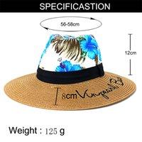 summer women hats big brim 8cm sun protection print straw hats beach outdoor panama embriodery elegant women summer panama hats
