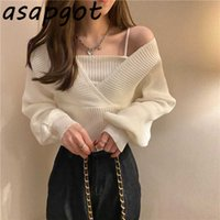Sweater Women Autumn Winter Gentle White Fake Two-piece Off-shoulder Knitted Top Puff Long Sleeve Pullovers Sweaters Pull Solid 210610