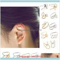 Hoop & Hie Jewelry 1 Pc Womens Fashion Cuff Heart Moon Shape Faux Pearl Ear Clip Earrings Jewelry Drop Delivery 2021 95Ylw