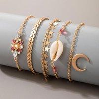 Charm Bracelets Bohemian Shell For Women Trendy Flower Star Moon Crystal Bracelet Set Elegant Gold Metal Chain Girl