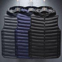 Yeni Erkek Yelek Bahar Kış Kolsuz Ceket Kapşonlu Mont Erkek Yelek Sıcak Aşağı Ceketler Rahat Jile Homme Erkek Yelekler