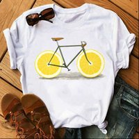 Bicycle with Lemon Casual Kawaii Womens T Shirts 90s Graphic Summer White Short Sleeve Tops Tee Femme