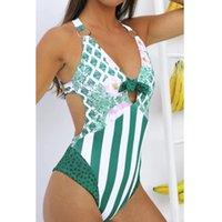 Yay 2021 Seksi Kadın Tek Parça Mayo Mayo Kadın V Yaka Backless Çizgili Brezilyalı Bather Monokini Mayo Bodysuit Tek Parça Sui