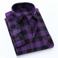 Men's Casual Shirts Quality Flannel Plaid Men Shirt Cotton Spring Autumn Long Sleeve Dress Soft Comfort Slim Fit Button Down Clothes