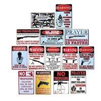 Aucun moyen d'avertissement Pistolet d'aversement Signes métalliques Plaque de mur Vintage Plaque mural Barre de garage Maison Café Art Craft Decor Plaque 20x30 CM Q0723