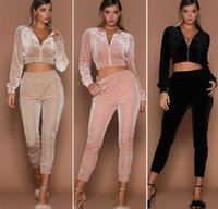 tracksuits velvet women's casual sports suit solid color sweater zipper two piece open navel set HUWG