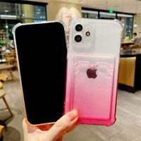 Gradient Wallet Card Transparent Phone Cases For iphone 13 Pro Max 12 11 Xs Xr X SE 7 8 Plus TPU Soft Caver