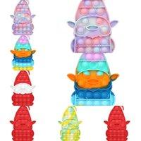Silikon Karikatür Noel Baba Gitmek Gitmek Anti Stres Fidget Oyuncaklar Itme Kabarcık Dekompresyon Popper Duyusal Parmak Oyunu Çocuk Noel Bulmaca Oyuncaklar G628GHO