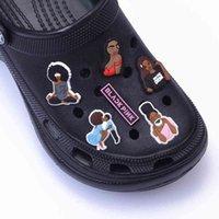 Shoes accessories 1Pcs Black voters Challenge Shoe Charms Croc Jibz Accessories Designer Girl Magic Clog Gesp Soft Pvc Blind charm J0722