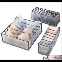 Housekeeping Organization Home & Garden Drop Delivery 2021 Bra Storage Boxes Underwear Clothes Organizer Der Nylon Divider 7 Grids Foldable B