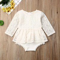Rompers Baby Girls Bodysuits Long Sleeve Autumn Clothing Flower Lace Romper Princess Girl Tutu Dress Born Outfits 0-24M