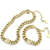 Fashion stainless steel letter 14k gold cuban link chain necklace choker bracelet for mens and women lovers gift hip hop jewelry With BOX