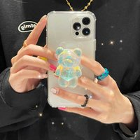 3D Korea Cartoon Bear Ring Holder Stand Transparent Soft Phone Case for iphone 13 12 11 Pro Max MiNi XR X XS 7 8 plus SE Cover H1009