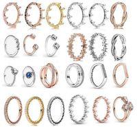 جديد إمرأة حلقة تشيكوسلوفاكيا القلب خواتم الماس النساء مجوهرات ل باندورا 925 فضة خاتم الزواج مجموعة مع المربع الأصلي